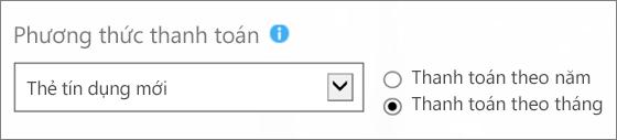 Ảnh chụp màn hình của phần 'Phương thức thanh toán' trên 'Làm thế nào để bạn muốn thanh toán?' trang, với 'Thẻ tín dụng mới' và 'Thanh toán theo tháng' tùy chọn được chọn.