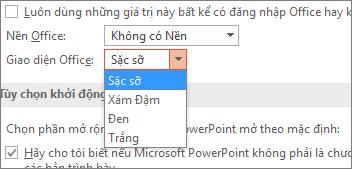 Hiển thị các tùy chọn Chủ đề Office trong PowerPoint 2016
