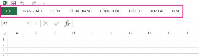 Chỉ các tab được hiển thị trên Dải băng.