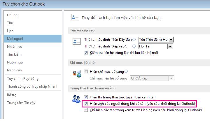 Ảnh chụp màn hình cửa sổ Tùy chọn Outlook với hộp kiểm Bật ảnh được tô sáng