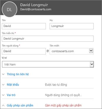 Nhập thông tin người dùng trong thẻ Người dùng mới