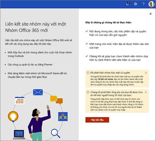 Hình này hiển thị màn hình đầu tiên của trình hướng dẫn tạo Office 365 mới.