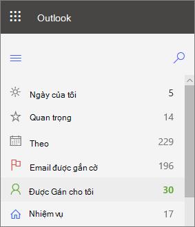 Ảnh chụp màn hình dẫn hướng bên trái cho các tác vụ cho Outlook cho web hiện được gán cho tôi ngay sau khi được gắn cờ email