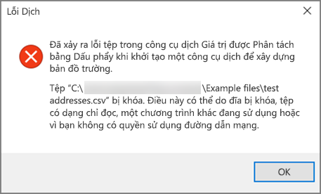 Đây là thông báo lỗi mà bạn sẽ nhận được nếu tệp .csv của bạn không tốt định dạng dữ liệu.