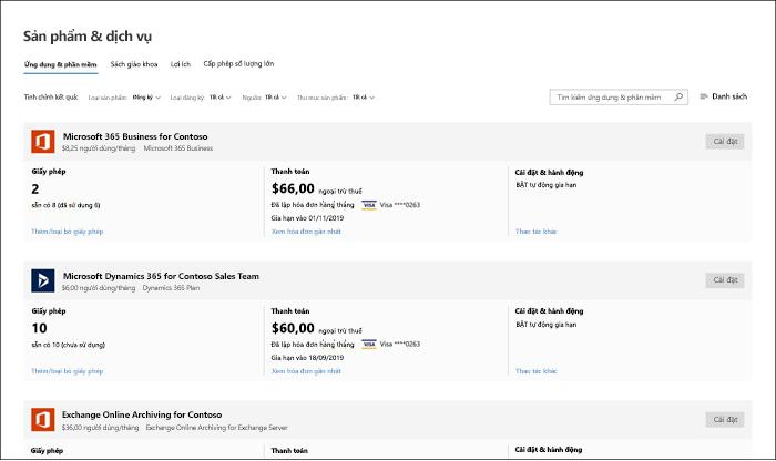 Ảnh chụp màn hình: sản phẩm và dịch vụ trong bản xem trước Trung tâm quản trị Microsoft 365