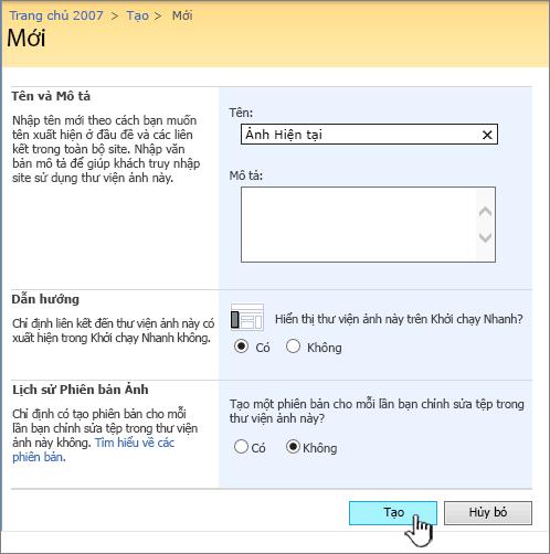 Cách điền vào trong tên, mô tả, dẫn hướng và lập phiên bản cho thư viện ảnh