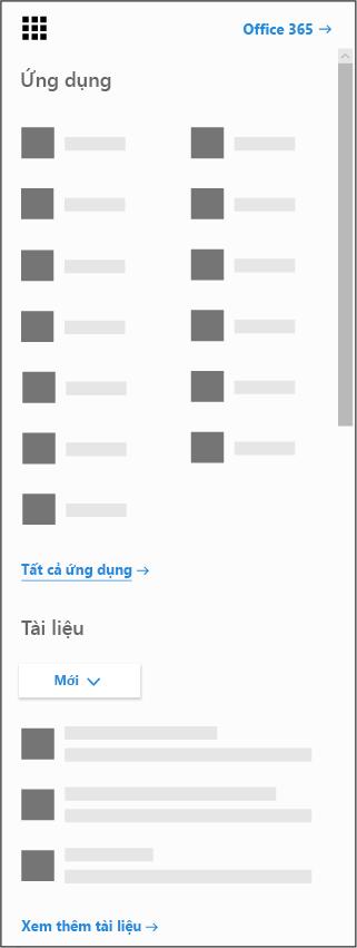 Công cụ khởi động ứng dụng Office 365