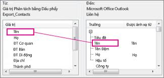 Ánh xạ một cột từ Excel vào một trường liên hệ Outlook