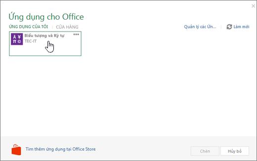 Ảnh chụp màn hình hiển thị tab ứng dụng của tôi của ứng dụng cho Office.