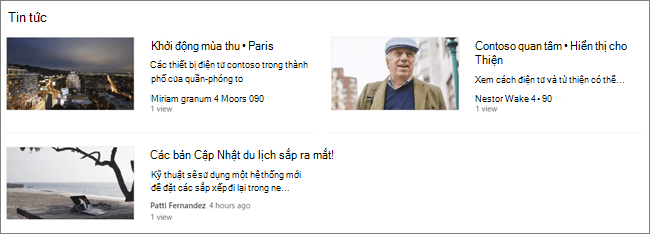Phần web tin tức của một trang SharePoint, trong đó các bài đăng đã được lọc