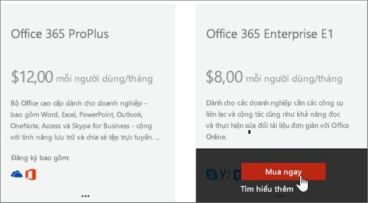 Nối kết Mua ngay trên trang mua dịch vụ của trung tâm quản trị Office 365.