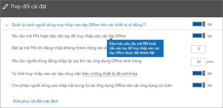 Đảm bảo rằng tùy chọn Yêu cầu mã PIN hoặc dấu vân tay để truy nhập ứng dụng Office được đặt là Bật.