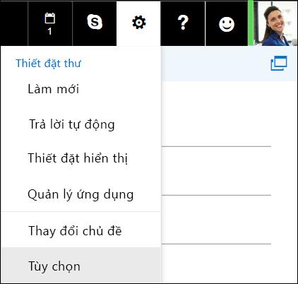 Tuỳ chọn Thiết đặt trong Outlook trên web
