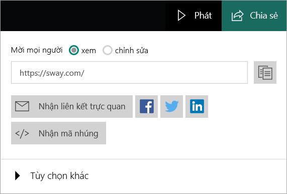 Menu Sway từ tài khoản Microsoft của bạn