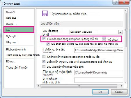 Tùy chọn Lưu trong Tùy chọn Excel