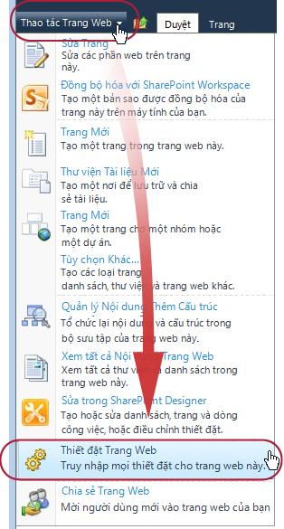 Lệnh Thiết đặt Site trên menu Hành động Site
