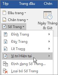 Trong nhóm Đầu trang và Chân trang, chọn Số Trang, rồi chọn Vị trí Hiện tại.