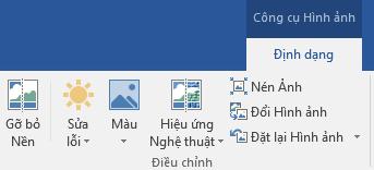 Nút loại bỏ nền nằm trên tab định dạng công cụ ảnh của dải băng trong Office 2016.