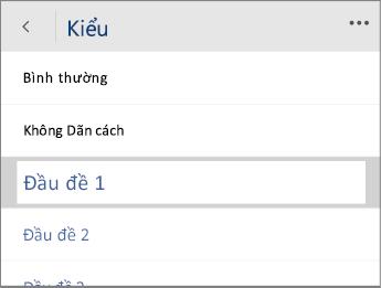 Ảnh chụp màn hình menu Kiểu trong Word Mobile với tùy chọn Đầu đề 1 đã chọn.