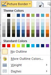 Menu viền ảnh trong Outlook 2010