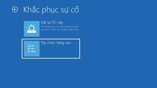 Màn hình Khắc phục sự cố trong Môi trường Phục hồi Windows.