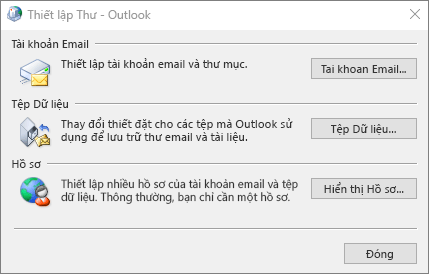 Thiết lập Thư - Hộp thoại Outlook được truy nhập thông qua thiết đặt Thư trong Panel Điều khiển