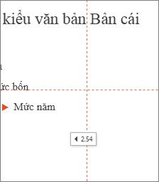 Thẻ hiện khoảng cách đến trung tâm của trang chiếu