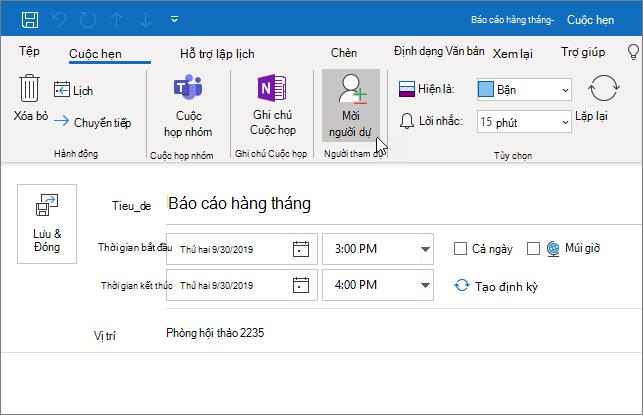 Lên lịch một cuộc hẹn trong Outlook
