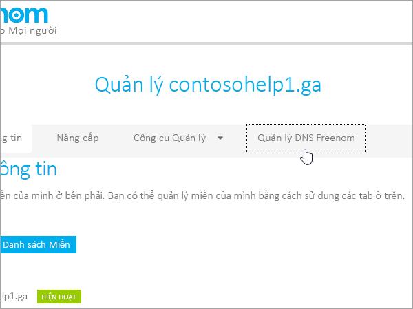 Freenom chọn quản lý Freenom DNS
