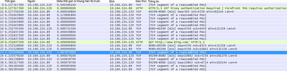 Trong Wireshark, có thể tạo cột 'Delta thời gian từ khung hiển thị trước' bằng cách bấm chuột phải vào trường có cùng tên trong chi tiết khung và chọn Thêm làm Cột.