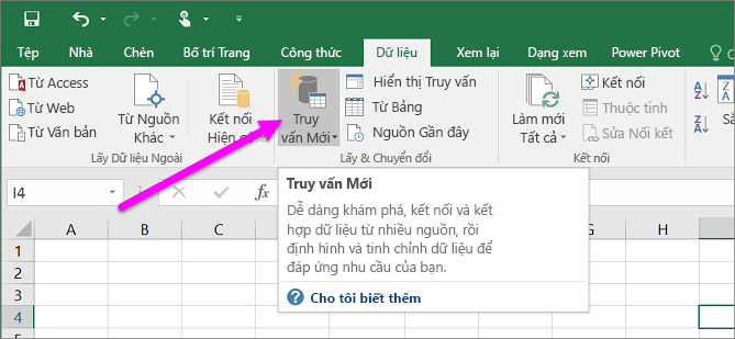 Truy vấn Mới trong Excel 2016