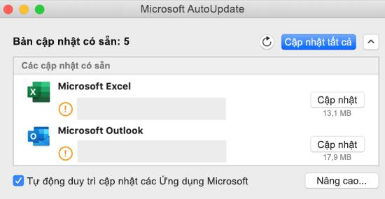 Ảnh bảng điều khiển Microsoft AutoUpdate với thông tin về các bản Cập Nhật.