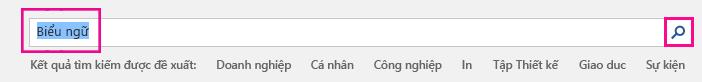 """Tìm kiếm """"Biểu ngữ"""" trên trang mẫu ban đầu."""