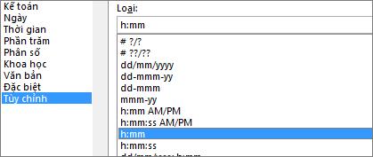 Hộp thoại Định dạng Ô, lệnh Tùy chỉnh, loại h:mm