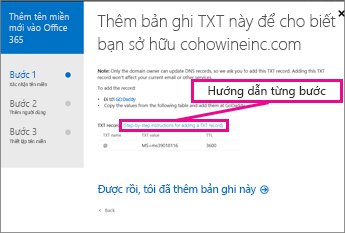 Trong Office 365, bấm Hướng dẫn từng bước để biết thêm thông tin về việc thêm bản ghi TXT