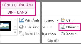 Nút Nhóm được tìm thấy trên tab Định dạng Công cụ Ảnh