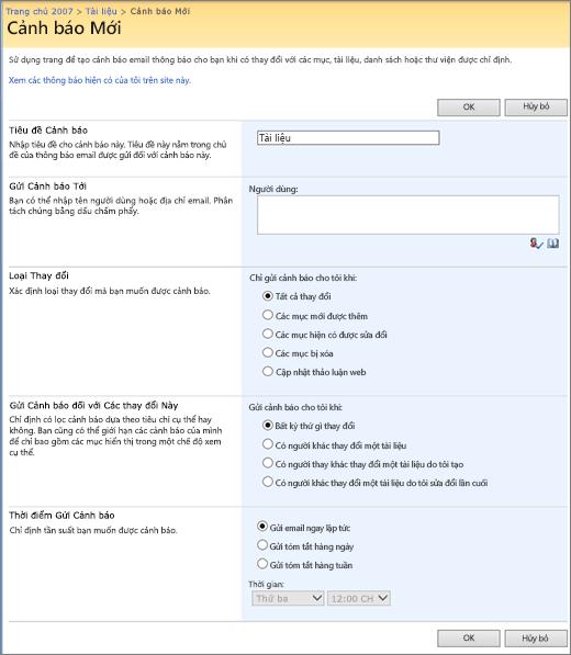 SharePoint 2007 cảnh báo tùy chọn trang