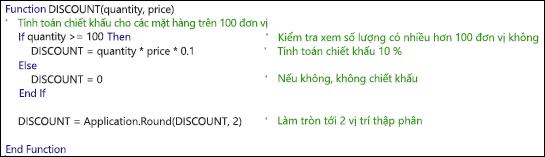Ví dụ về hàm VBA với chú thích