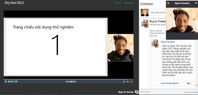 Phát Cuộc họp Skype với tích hợp Yammer