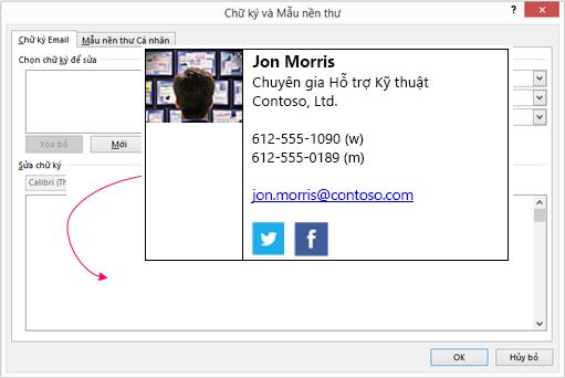 Dán khối chữ ký tùy chỉnh trong hộp văn bản chữ ký email trong chữ ký và mẫu nền thư hộp thoại
