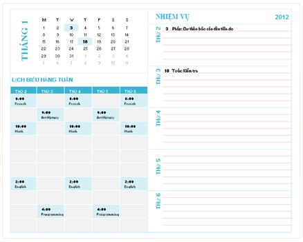 Mẫu Lịch Kế hoạch Hàng tuần cho Sinh viên (Excel)
