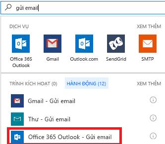 Ảnh chụp màn hình: Chọn hành động: Office 365 Outlook - gửi một email