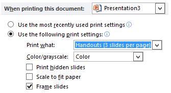 Đặt cài đặt in mặc định cho bản trình bày cụ thể