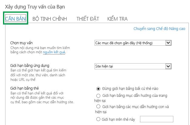 Tab CƠ BẢN khi cấu hình các truy vấn trong Phần Web Tìm kiếm Nội dung