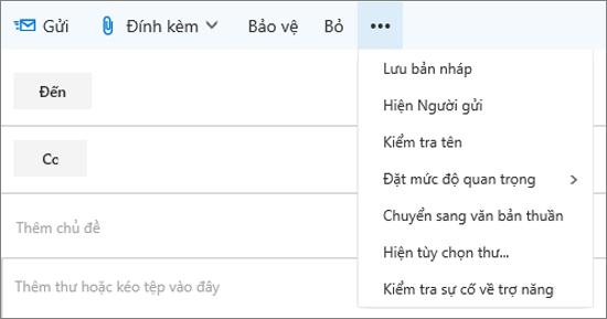 Một ảnh chụp màn hình hiển thị các tùy chọn sẵn có từ lệnh khác trên thanh công cụ thư thư.