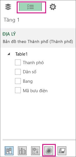 Biểu tượng Bản đồ Nhiệt trên tab Danh sách Trường