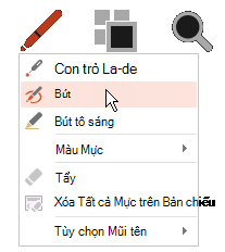 Bấm vào nút bút, rồi chọn bút từ menu bật lên.