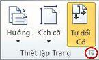 Công cụ Khởi động Hộp thoại Thiết lập Trang