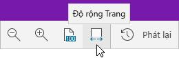 Hiển thị tùy chọn thu phóng với tùy chọn Độ rộng Trang được chọn