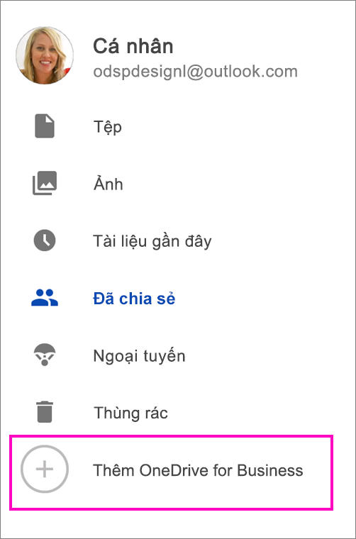 Thêm OneDrive for Business.